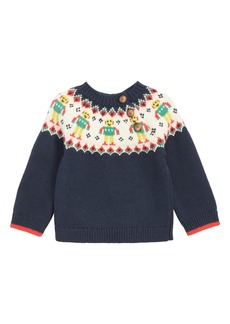 Mini Boden Fair Isle Robot Sweater (Baby Boys & Toddler Boys)