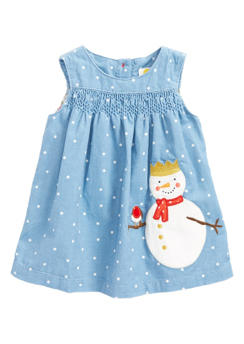 Mini boden mini boden fairy tale appliqu snowman pinafore for Mini boden sale deutschland