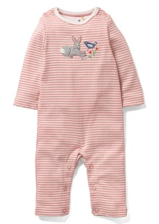Mini Boden Farmyard Appliqué Organic Cotton Romper (Baby Girls)