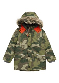 Mini Boden Faux Fur Trim Waterproof Parka (Toddler Boys, Little Boys & Big Boys)