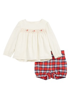 Mini Boden Festive Woven Top & Bubble Shorts Set (Baby)