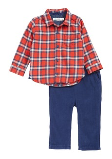 Mini Boden Flannel Plaid Shirt & Corduroy Pants Set (Baby)