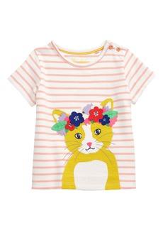 Mini Boden Flower Crown Animal Appliqué Tee (Toddler Girls, Little Girls & Big Girls)