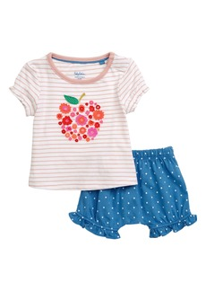 Mini Boden Fluttery Appliqué T-Shirt & Bubble Shorts Set (Baby & Toddler Girls)