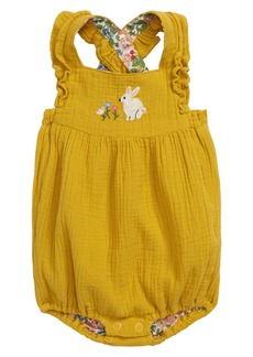 Mini Boden Frilly Embroidered Romper (Baby)