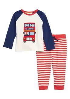 Mini Boden Fun Appliqué T-Shirt & Pants Set (Baby Boys)