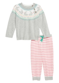Mini Boden Fun Fair Isle Knit Sweater & Pants Set (Baby Girls)