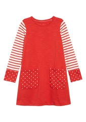 Mini Boden Fun Pocket Long Sleeve Jersey T-Shirt Dress (Toddler Girls, Little Girls & Big Girls)