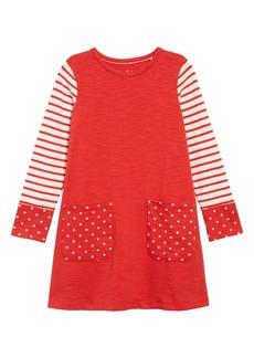 Mini Boden Fun Pocket Long Sleeve Jersey T-Shirt Dress (Toddler Girls, Little Girls & Big Girls)
