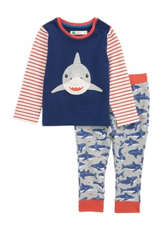 Mini Boden Fun Shark Appliqué Jersey Shirt & Pants Set (Baby Boys)
