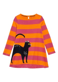 Mini Boden Halloween Cat Appliqué Stripe Long Sleeve T-Shirt Dress (Toddler Girls, Little Girls & Big Girls)