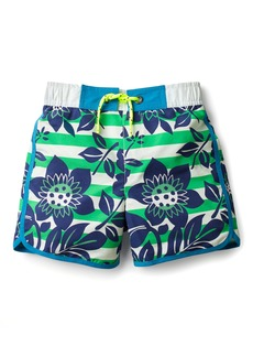 Mini Boden Hawaiian Print Board Shorts (Toddler Boys, Little Boys & Big Boys)