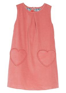 Mini Boden Heart Pocket Corduroy Pinafore Dress (Toddler Girls, Little Girls & Big Girls)