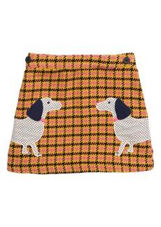Mini Boden Houndstooth Appliqué Skirt (Toddler Girls, Little Girls & Big Girls)