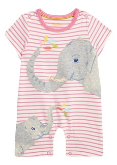 Mini Boden Jersey Appliqué Stripe Romper (Baby)