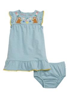 Mini Boden Jungle Embroidered Monkeys Dress (Baby & Toddler Girls)