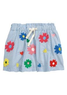Mini Boden Kids' Bouclé Flower Appliqué Stripe Skirt (Toddler, Little Girl & Big Girl)