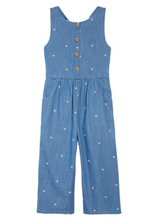 Mini Boden Kids' Embroidered Wide Leg Chambray Jumpsuit (Little Girl & Big Girl)