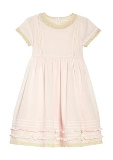 Mini Boden Lace Trim Fit & Flare Dress (Toddler Girls, Little Girls & Big Girls)