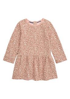 Mini Boden Leopard Print Long Sleeve Fleece Dress (Baby)