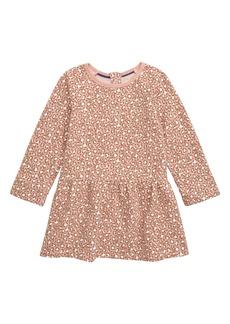 Mini Boden Leopard Print Long Sleeve Fleece Dress (Toddler Girls)