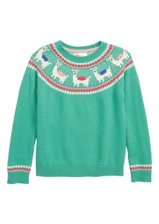 Mini Boden Llama Fair Isle Sweater (Little Girls & Big Girls)