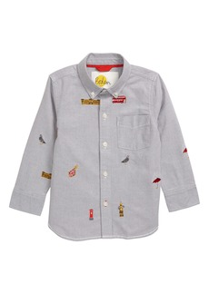 Mini Boden London Embroidered Oxford Shirt (Toddler Boys, Little Boys & Big Boys)