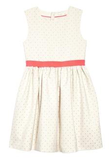 Mini Boden Metallic Dot Fit & Flare Dress (Toddler Girls, Little Girls & Big Girls)