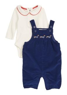 Mini Boden Nostalgic Bodysuit & Corduroy Dungaree Romper Set (Baby Girls)