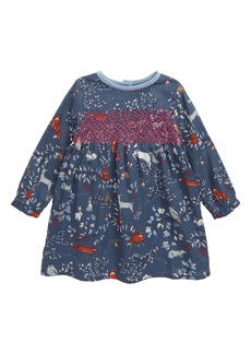 Mini Boden Nostalgic Smocked Long Sleeve Dress (Baby)
