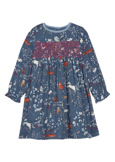 Mini Boden Nostalgic Smocked Long Sleeve Dress (Toddler Girls)