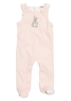 Mini Boden Organic Cotton Dunagree Footie (Baby Girls)