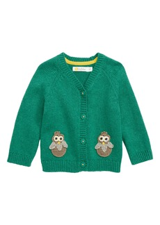 Mini Boden Owl Cardigan Sweater (Baby Boys)