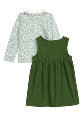 Mini Boden Pinnie Floral Long Sleeve Top & Corduroy Dress Set (Baby)