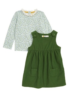 Mini Boden Pinnie Long Sleeve Top & Corduroy Dress Set (Toddler Girls)