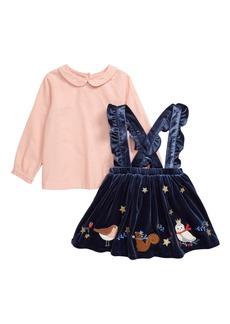 Mini Boden Pinnie Shirt & Velvet Pinafore Dress Set (Baby)