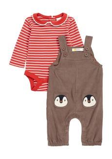Mini Boden Pocket Pet Corduroy Overalls & Bodysuit Set (Baby)