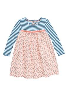 Mini Boden Pointelle & Woven Dress (Baby Girls & Toddler Girls)