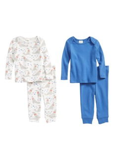 Mini Boden Pointelle 4-Piece Fitted Pajama Set (Baby Boys)