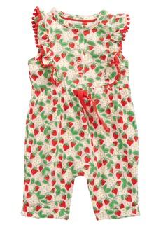 Mini Boden Pom Trim Strawberry Romper (Baby)