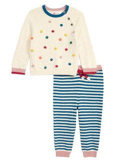 Mini Boden Pompom Knit Sweater & Pants Set (Baby)