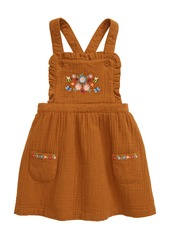 Mini Boden Pretty Embroidered Pinafore Dress (Baby)