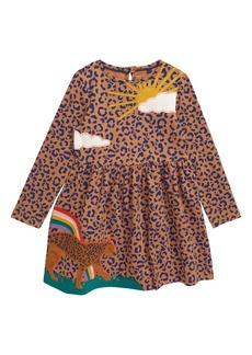 Mini Boden Print Appliqué Long Sleeve Dress (Toddler Girls, Little Girls & Big Girls)