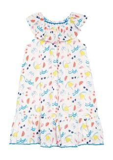 Mini Boden Print Ruffle Neck Dress (Little Girls & Big Girls)