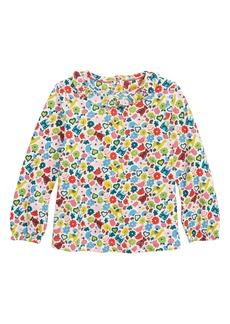 Mini Boden Print Ruffle Shirt (Baby Girls & Toddler Girls)
