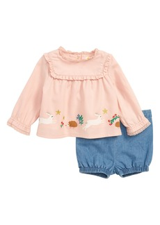 Mini Boden Provence Embroidered Top & Shorts Set (Baby Girls & Toddler Girls)