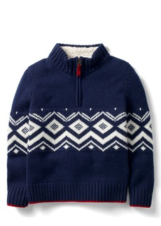 Mini Boden Quarter-Zip Pullover Wool Sweater (Toddler Boys, Little Boys & Big Boys)