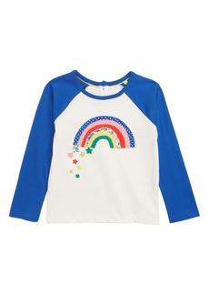 Mini Boden Rainbow Appliqué Raglan Shirt (Toddler Girls, Little Girls & Big Girls)