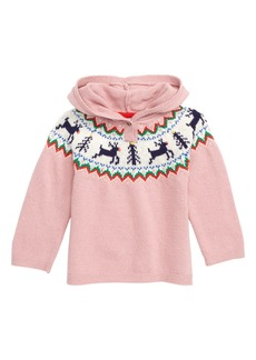 Mini Boden Reindeer Fair Isle Hooded Pullover (Baby)