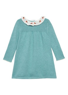 Mini Boden Robin Embroidered Collar Long Sleeve Sweater Dress (Toddler Girls)
